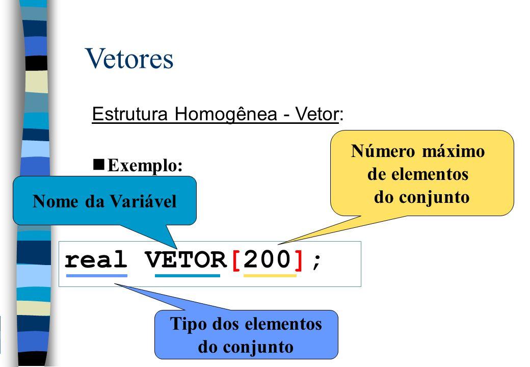 Vetores real VETOR[200]; Estrutura Homogênea - Vetor: Exemplo: